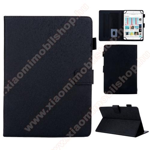 Xiaomi Mi Pad 4 PlusUNIVERZÁLIS notesz / mappa tablet PC tok - FEKETE - álló, bőr, rejtett mágneses záródás, bankkártyatartó zsebek, asztali tartó funkciós, ceruzatartó, 10
