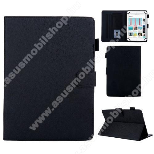 ASUS Memo Pad 10.1 ME301T-1B015AUNIVERZÁLIS notesz / mappa tablet PC tok - FEKETE - álló, bőr, rejtett mágneses záródás, bankkártyatartó zsebek, asztali tartó funkciós, ceruzatartó, 10