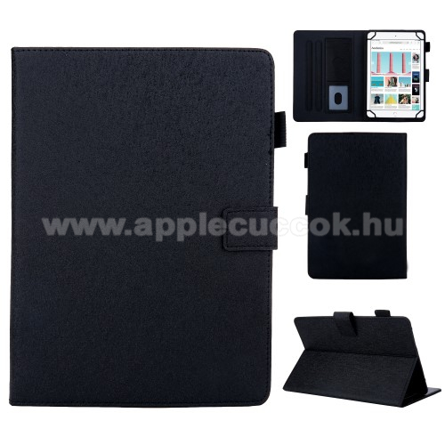 APPLE iPad 10.2 (8th generation) (2020)UNIVERZÁLIS notesz / mappa tablet PC tok - FEKETE - álló, bőr, rejtett mágneses záródás, bankkártyatartó zsebek, asztali tartó funkciós, ceruzatartó, 10