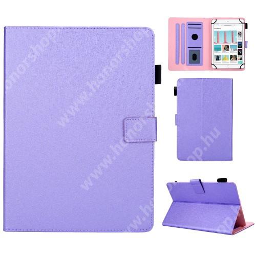 """UNIVERZÁLIS notesz / mappa tablet PC tok - LILA - álló, bőr, rejtett mágneses záródás, bankkártyatartó zsebek, asztali tartó funkciós, ceruzatartó, 7""""-os készülékekhez"""