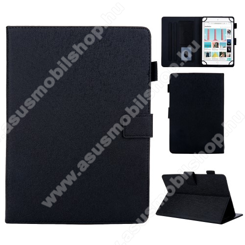 ASUS Memo Pad 7 ME572CUNIVERZÁLIS notesz / mappa tablet PC tok - FEKETE - álló, bőr, rejtett mágneses záródás, bankkártyatartó zsebek, asztali tartó funkciós, ceruzatartó, 7