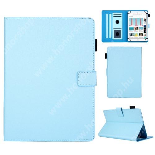 """UNIVERZÁLIS notesz / mappa tablet PC tok - VILÁGOSKÉK - álló, bőr, rejtett mágneses záródás, bankkártyatartó zsebek, asztali tartó funkciós, ceruzatartó, 8""""-os készülékekhez"""