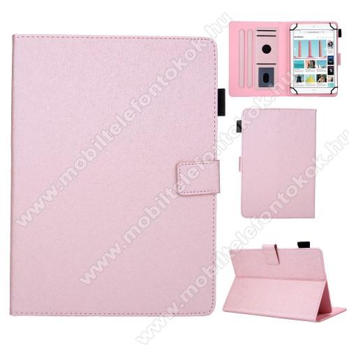 UNIVERZÁLIS notesz / mappa tablet PC tok - RÓZSASZÍN - álló, bőr, rejtett mágneses záródás, bankkártyatartó zsebek, asztali tartó funkciós, ceruzatartó, 8