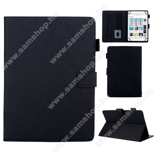 SAMSUNG Galaxy Tab A 8 Wi-Fi (2019) (SM-P200)UNIVERZÁLIS notesz / mappa tablet PC tok - FEKETE  - álló, bőr, rejtett mágneses záródás, bankkártyatartó zsebek, asztali tartó funkciós, ceruzatartó, 8