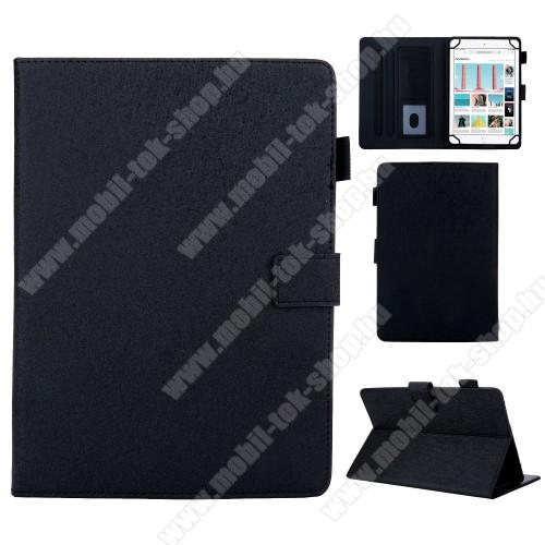 UNIVERZÁLIS notesz / mappa tablet PC tok - FEKETE  - álló, bőr, rejtett mágneses záródás, bankkártyatartó zsebek, asztali tartó funkciós, ceruzatartó, 8