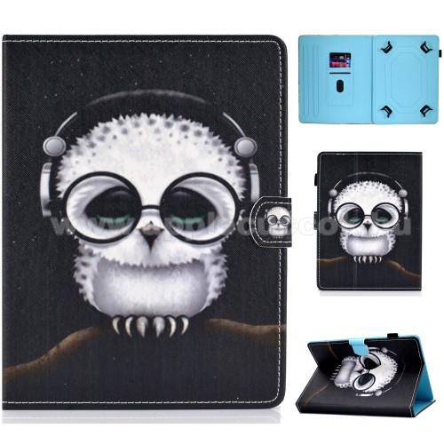 APPLE iPad 2UNIVERZÁLIS notesz / mappa tablet PC tok - FEHÉR BAGOLY MINTÁS - álló, bőr, mágneses, asztali tartó funkciós,belső zsebek, tolltartó, 10
