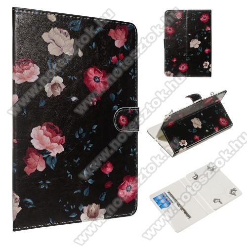 UNIVERZÁLIS notesz / mappa tablet PC tok - VIRÁG MINTÁS - álló, bőr, mágneses, asztali tartó funkciós,belső zsebek, 10