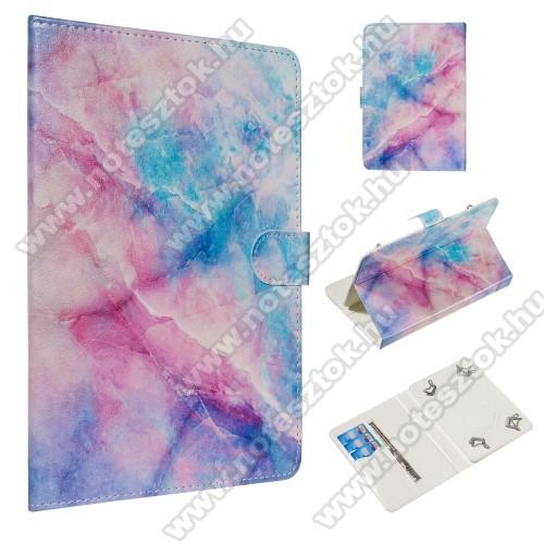 UNIVERZÁLIS notesz / mappa tablet PC tok - SZÍNES MÁRVÁNY MINTÁS - álló, bőr, mágneses, asztali tartó funkciós,belső zsebek, 10