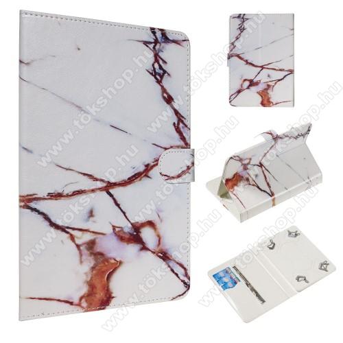 UNIVERZÁLIS notesz / mappa tablet PC tok - FEHÉR MÁRVÁNY MINTÁS - álló, bőr, mágneses, asztali tartó funkciós,belső zsebek, 10