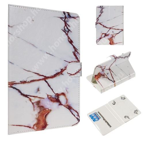 """UNIVERZÁLIS notesz / mappa tablet PC tok - FEHÉR MÁRVÁNY MINTÁS - álló, bőr, mágneses, asztali tartó funkciós,belső zsebek, 10""""-os készülékekhez"""