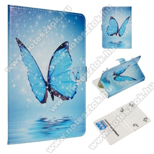 UNIVERZÁLIS notesz / mappa tablet PC tok - KÉK PILLANGÓ MINTÁS - álló, bőr, mágneses, asztali tartó funkciós,belső zsebek, 10