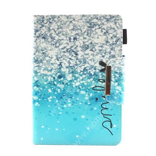 """UNIVERZÁLIS notesz / mappa tablet PC tok - KÉK FLITTER MINTÁS - álló, bőr, mágneses záródás, asztali tartó funkciós, bankkártyatartó zsebek, tolltartó, 10""""-os készülékekhez"""