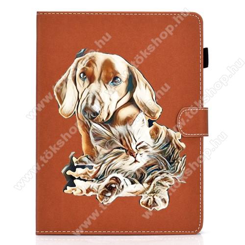 UNIVERZÁLIS notesz / mappa tablet PC tok - KUTYA / CICA MINTÁS - álló, bőr, mágneses, bankkártyatartó zsebek, ceruzatartó, asztali tartó funkciós, 7