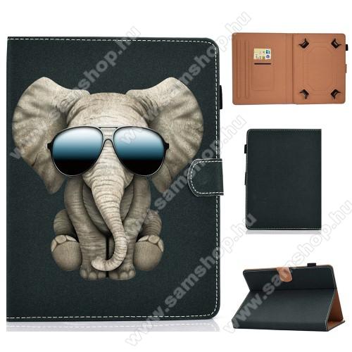 UNIVERZÁLIS notesz / mappa tablet PC tok - ELEFÁNT MINTÁS - álló, bőr, mágneses, bankkártyatartó zsebek, ceruzatartó, asztali tartó funkciós, 7