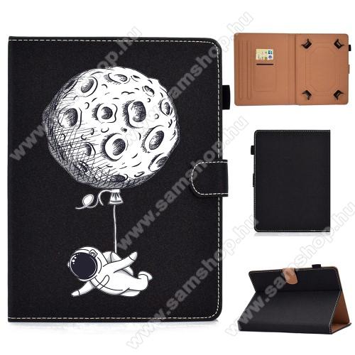 UNIVERZÁLIS notesz / mappa tablet PC tok - ŰRHAJÓS MINTÁS - álló, bőr, mágneses, bankkártyatartó zsebek, ceruzatartó, asztali tartó funkciós, 8
