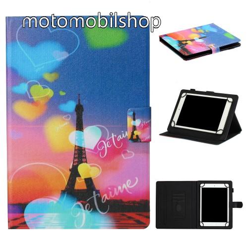 """UNIVERZÁLIS notesz / mappa tablet PC tok - EIFFEL TORONY MINTÁS - álló, bőr, mágneses, asztali tartó funkciós, 10""""-os készülékekhez - Belső méret: 245 x 170 x 20mm"""