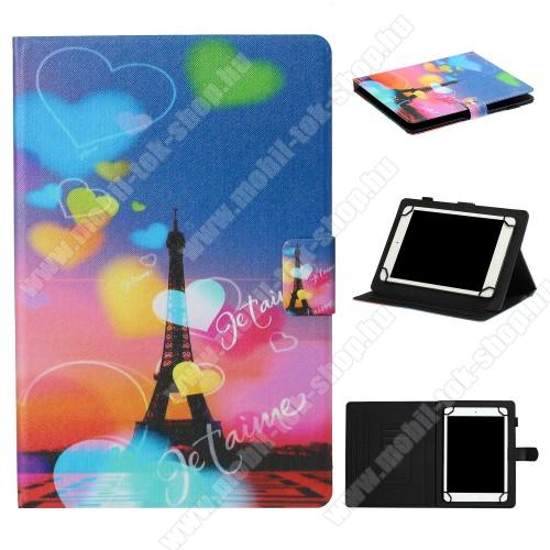 UNIVERZÁLIS notesz / mappa tablet PC tok - EIFFEL TORONY MINTÁS - álló, bőr, mágneses, asztali tartó funkciós, 10