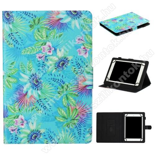 UNIVERZÁLIS notesz / mappa tablet PC tok - VIRÁG MINTÁS - álló, bőr, mágneses, asztali tartó funkciós, 8