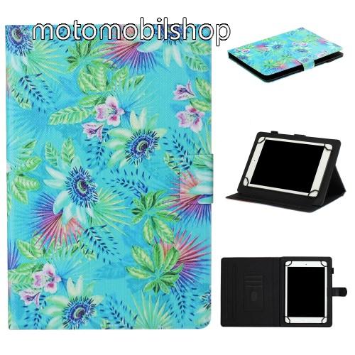 """UNIVERZÁLIS notesz / mappa tablet PC tok - VIRÁG MINTÁS - álló, bőr, mágneses, asztali tartó funkciós, 8"""" készülékekhez - Belső méret: 220 x 165 x 20mm"""