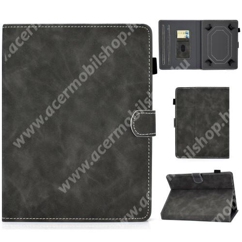"""UNIVERZÁLIS notesz / mappa tablet PC tok - FEKETE - álló, bőr, mágneses, asztali tartó funkciós, 10"""" készülékekhez"""