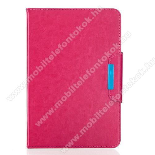 UNIVERZÁLIS notesz / mappa tablet PC tok - MAGENTA - álló, bőr, rejtett mágneses záródás, bankkártyatartó zsebek, asztali tartó funkciós, ceruzatartó, 10-12