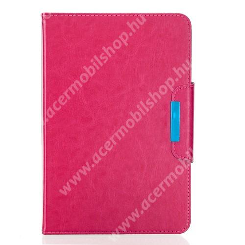 """UNIVERZÁLIS notesz / mappa tablet PC tok - MAGENTA - álló, bőr, rejtett mágneses záródás, bankkártyatartó zsebek, asztali tartó funkciós, ceruzatartó, 10-12""""-os készülékekhez ajánlott"""