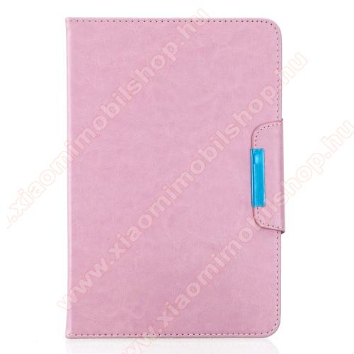 UNIVERZÁLIS notesz / mappa tablet PC tok - RÓZSASZÍN - álló, bőr, rejtett mágneses záródás, bankkártyatartó zsebek, asztali tartó funkciós, ceruzatartó, 10-12