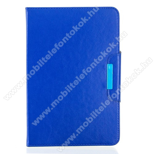 UNIVERZÁLIS notesz / mappa tablet PC tok - TENGERÉSZKÉK - álló, bőr, rejtett mágneses záródás, bankkártyatartó zsebek, asztali tartó funkciós, ceruzatartó, 10-12