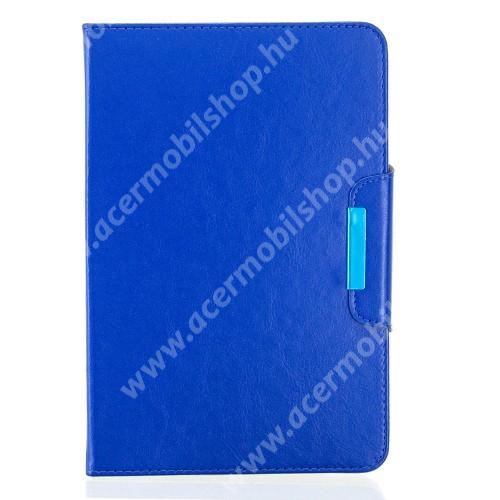 """UNIVERZÁLIS notesz / mappa tablet PC tok - TENGERÉSZKÉK - álló, bőr, rejtett mágneses záródás, bankkártyatartó zsebek, asztali tartó funkciós, ceruzatartó, 10-12""""-os készülékekhez ajánlott"""