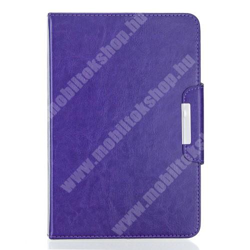 """UNIVERZÁLIS notesz / mappa tablet PC tok - LILA - álló, bőr, rejtett mágneses záródás, bankkártyatartó zsebek, asztali tartó funkciós, ceruzatartó, 10-12""""-os készülékekhez ajánlott"""