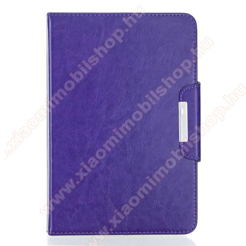 UNIVERZÁLIS notesz / mappa tablet PC tok - LILA - álló, bőr, rejtett mágneses záródás, bankkártyatartó zsebek, asztali tartó funkciós, ceruzatartó, 10-12