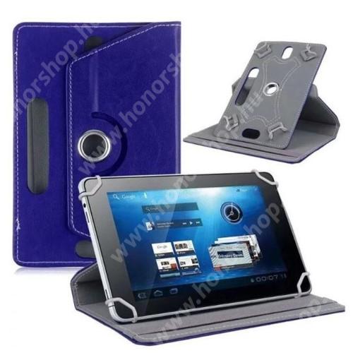 """UNIVERZÁLIS notesz / mappa tok - álló, oldalra nyíló, asztali tartó funkcióval, 360°-ban elforgatható - SÖTÉTKÉK - 9-10"""" méretű készülékekhez, 24-26cm x 16-17,5cm-ig"""