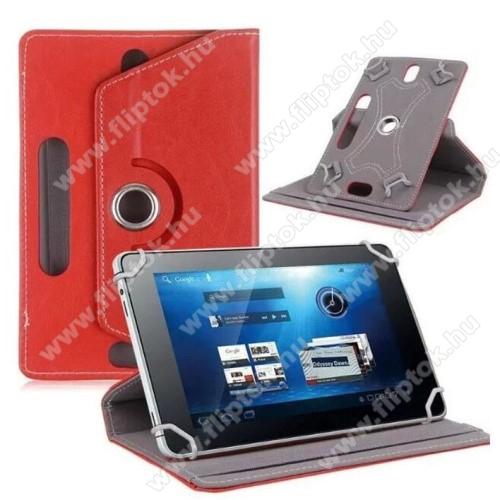 HUAWEI MediaPad T5 10UNIVERZÁLIS notesz / mappa tok - álló, oldalra nyíló, asztali tartó funkcióval, 360°-ban elforgatható - PIROS - 9-10