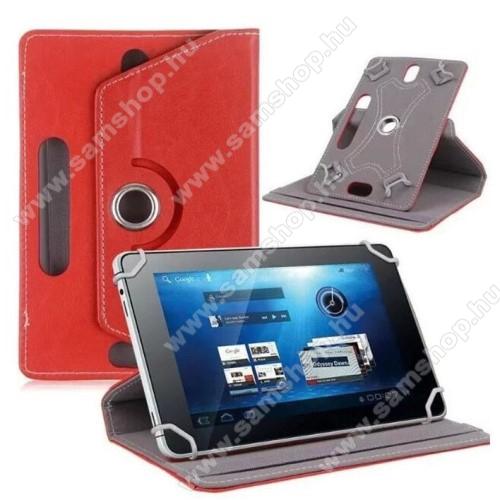 SAMSUNG SM-T835 Galaxy Tab S4 10.5 (LTE)UNIVERZÁLIS notesz / mappa tok - álló, oldalra nyíló, asztali tartó funkcióval, 360°-ban elforgatható - PIROS - 9-10