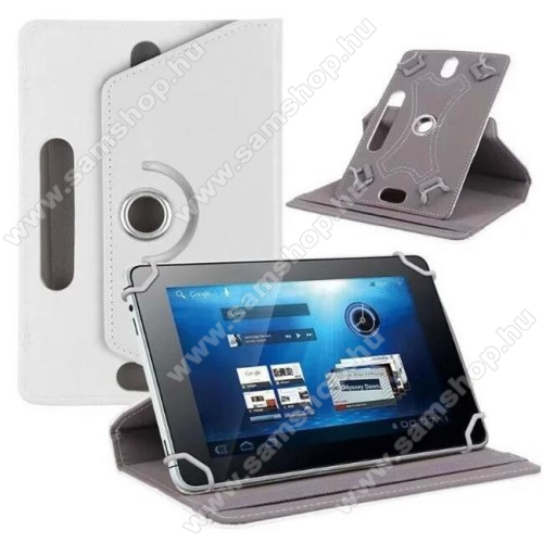 SAMSUNG P7500 Galaxy Tab 10.1UNIVERZÁLIS notesz / mappa tok - álló, oldalra nyíló, asztali tartó funkcióval, 360°-ban elforgatható - FEHÉR - 9-10
