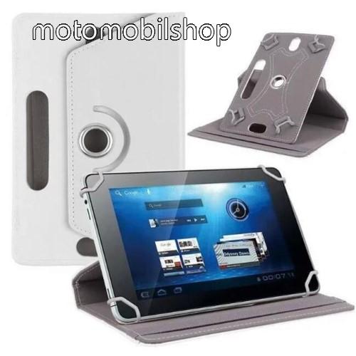 """MOTOROLA Xoom 2 (MZ616) UNIVERZÁLIS notesz / mappa tok - álló, oldalra nyíló, asztali tartó funkcióval, 360°-ban elforgatható - FEHÉR - 9-10"""" méretű készülékekhez, 24-26cm x 16-17,5cm-ig"""