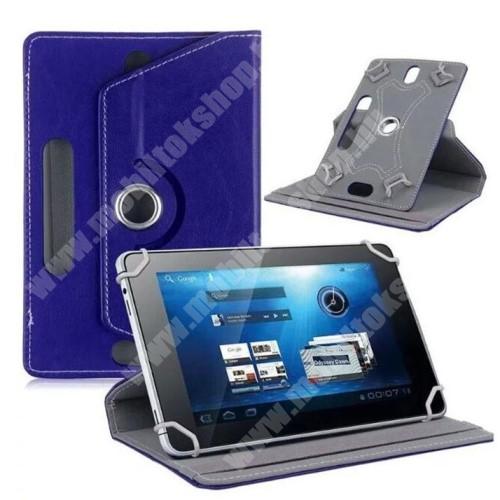 """VODAFONE Smart Tab 7 UNIVERZÁLIS notesz / mappa tok - álló, oldalra nyíló, asztali tartó funkcióval, 360°-ban elforgatható - SÖTÉTKÉK - 8-9"""" méretű készülékekhez, 22-24cm x 15-16,5cm-ig"""