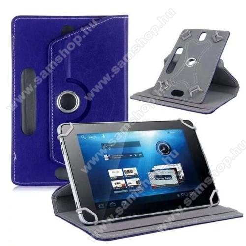 SAMSUNG P6800 Galaxy Tab 7.7UNIVERZÁLIS notesz / mappa tok - álló, oldalra nyíló, asztali tartó funkcióval, 360°-ban elforgatható - SÖTÉTKÉK - 8-9