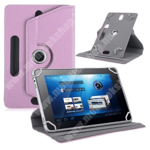 """VODAFONE Smart Tab 7 UNIVERZÁLIS notesz / mappa tok - álló, oldalra nyíló, asztali tartó funkcióval, 360°-ban elforgatható - RÓZSASZÍN - 8-9"""" méretű készülékekhez, 22-24cm x 15-16,5cm-ig"""