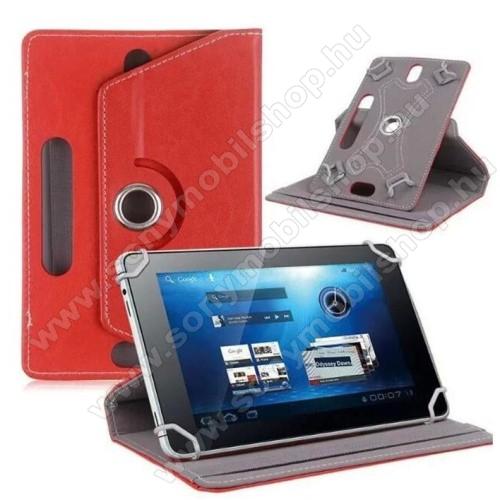 SONY Xperia Z3 Tablet Compact (SGP621)UNIVERZÁLIS notesz / mappa tok - álló, oldalra nyíló, asztali tartó funkcióval, 360°-ban elforgatható - PIROS - 8-9