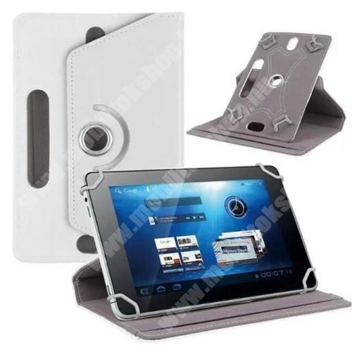 """SAMSUNG GT-N5100 Galaxy Note 8.0 UNIVERZÁLIS notesz / mappa tok - álló, oldalra nyíló, asztali tartó funkcióval, 360°-ban elforgatható - FEHÉR - 8-9"""" méretű készülékekhez, 22-24cm x 15-16,5cm-ig"""