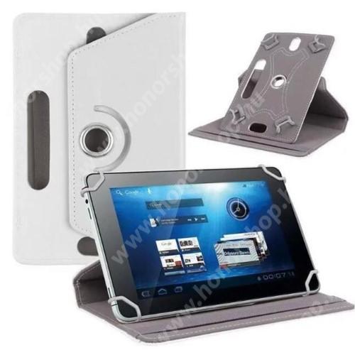 """UNIVERZÁLIS notesz / mappa tok - álló, oldalra nyíló, asztali tartó funkcióval, 360°-ban elforgatható - FEHÉR - 8-9"""" méretű készülékekhez, 22-24cm x 15-16,5cm-ig"""