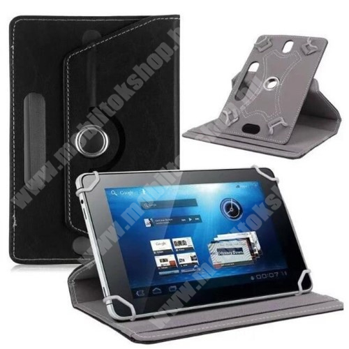 """HUAWEI MediaPad T3 8.0 UNIVERZÁLIS notesz / mappa tok - álló, oldalra nyíló, asztali tartó funkcióval, 360°-ban elforgatható - FEKETE - 8-9"""" méretű készülékekhez, 22-24cm x 15-16,5cm-ig"""