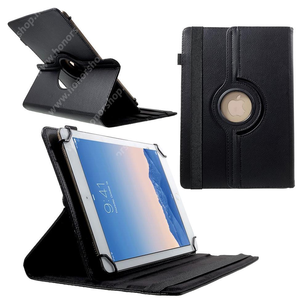 """UNIVERZÁLIS notesz / mappa tok - álló, oldalra nyíló, asztali tartó funkcióval, 360°-ban elforgatható - FEKETE - 9-10"""" méretű készülékekhez, 24-26cm x 16-18,5cm-ig"""