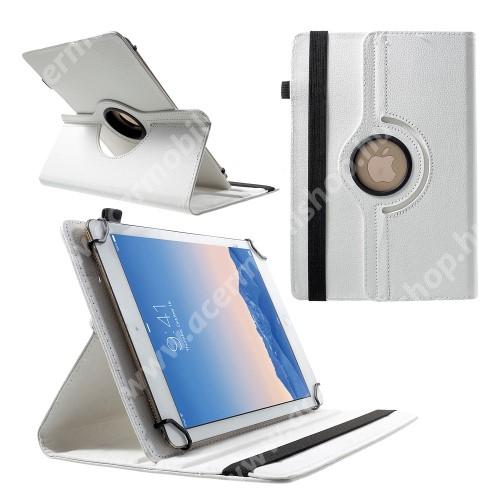 """UNIVERZÁLIS notesz / mappa tok - álló, oldalra nyíló, asztali tartó funkcióval, 360°-ban elforgatható - FEHÉR  - 9-10"""" méretű készülékekhez, 24-26cm x 16-18,5cm-ig"""