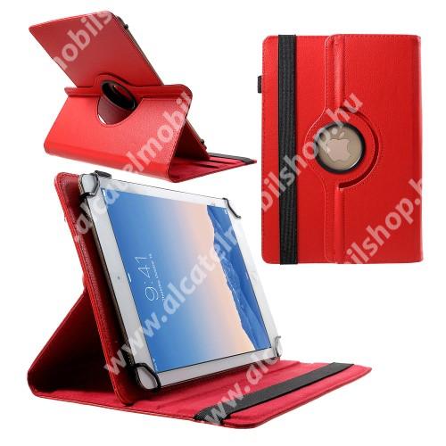 """UNIVERZÁLIS notesz / mappa tok - álló, oldalra nyíló, asztali tartó funkcióval, 360°-ban elforgatható - PIROS - 9-10"""" méretű készülékekhez, 24-26cm x 16-18,5cm-ig"""
