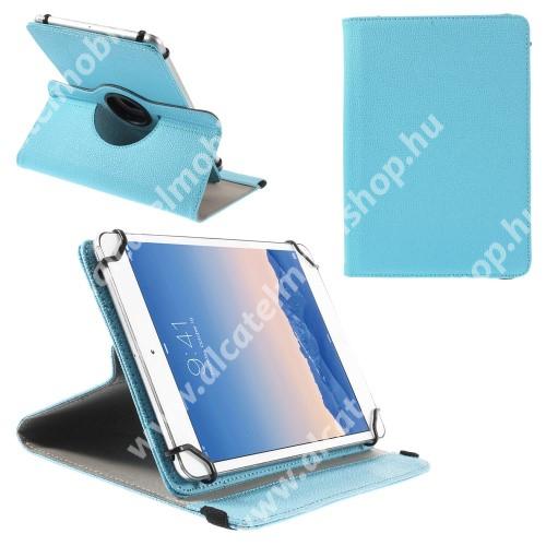 """UNIVERZÁLIS notesz / mappa tok - álló, oldalra nyíló, asztali tartó funkcióval, 360°-ban elforgatható - VILÁGOSKÉK - 9-10"""" méretű készülékekhez, 24-26cm x 16-18,5cm-ig"""