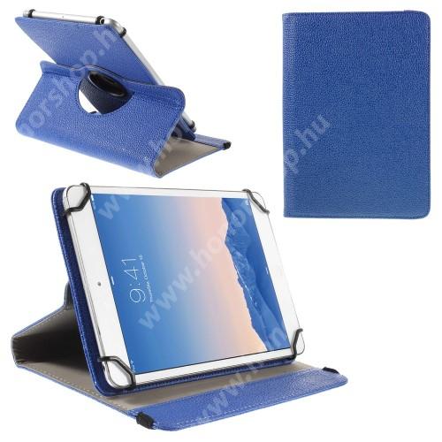 """UNIVERZÁLIS notesz / mappa tok - álló, oldalra nyíló, asztali tartó funkcióval, 360°-ban elforgatható - SÖTÉTKÉK - 9-10"""" méretű készülékekhez, 24-26cm x 16-18,5cm-ig"""