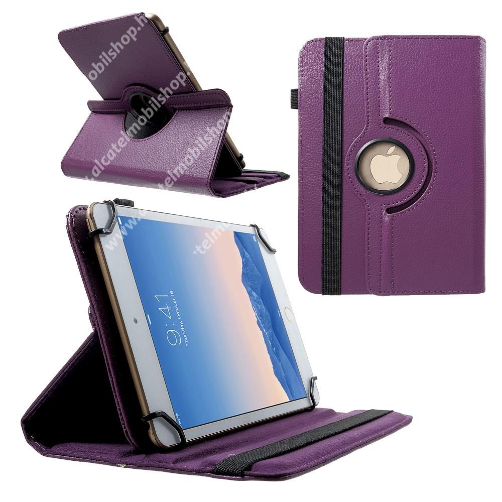 """UNIVERZÁLIS notesz / mappa tok - álló, oldalra nyíló, asztali tartó funkcióval, 360°-ban elforgatható - LILA - 9-10"""" méretű készülékekhez, 24-26cm x 16-18,5cm-ig"""