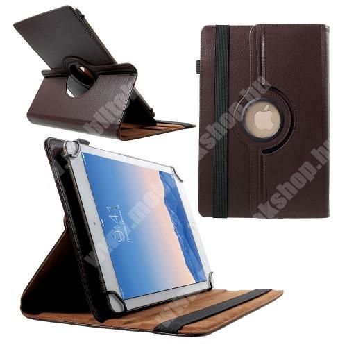 """ACER Iconia Tab A501 UNIVERZÁLIS notesz / mappa tok - álló, oldalra nyíló, gumis záródás, asztali tartó funkcióval, 360°-ban elforgatható - BARNA - 9-10"""" méretű készülékekhez, 24-26cm x 16-18,5cm-ig"""